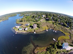 Aerial view of Sheldon Point Road, East Matunuck Rhode Island